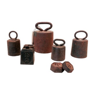 Vintage Industrial Weights- Set of 7 For Sale