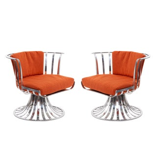 4 Russell Woodard Polished Aluminum Lounge Chairs For Sale