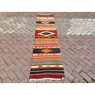 Vintage Hand Woven Aztec Runner Rug Preview