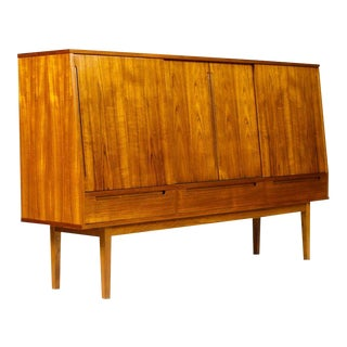 1960s Vintage Bernhard Pedersen + Son Danish Modern Teak Credenza / Cocktail Cabinet For Sale