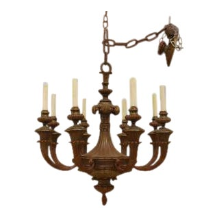 American Victorian Painted Bronze 8 Light Chandelier For Sale