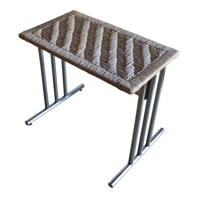 Mid Century Modern Chromcraft Woven Rush Rattan & Chrome Dining Table For Sale