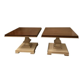 1970s Hollywood Regency Medallion Limited Lacquered Wood and Gold Tables - a Pair For Sale