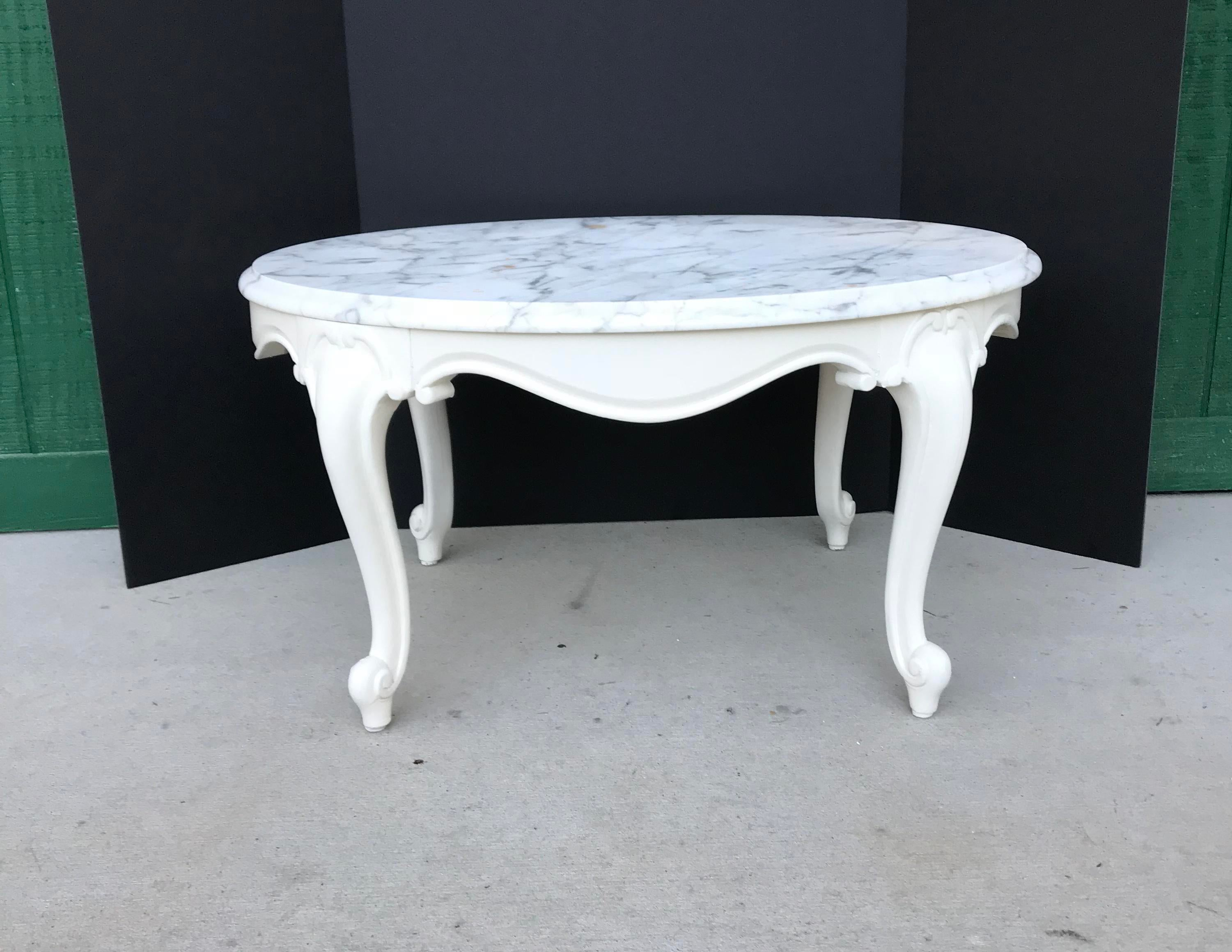 Attractive Antique Marble Top Coffee Table. Please Examine All Pictures Closely. The  Marble Is Not