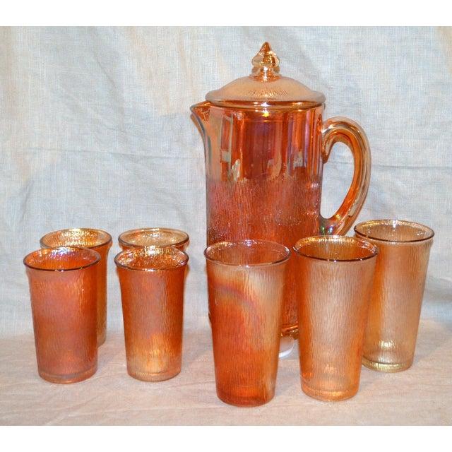 Gold Jeannette Marigold Tree Bark Pitcher and Glasses Set For Sale - Image 8 of 8