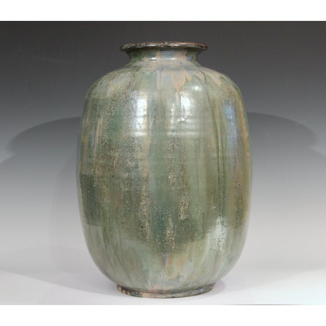 1930s Roger Guerin French Belgian Studio Art Pottery Crystalline Iridescent Glaze Vase For Sale - Image 9 of 11