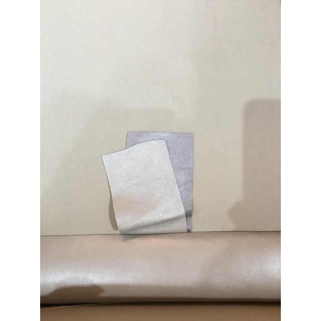 Modern LeatherCraft Custom Pearlized Italian Leather Sofa For Sale - Image 11 of 13