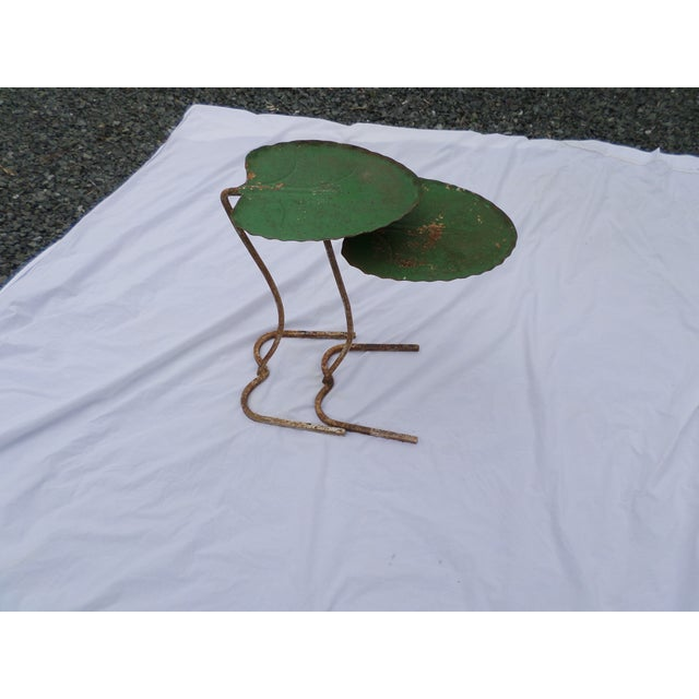 """A nesting pair of cantilevered Salterini Lily Pad Leaf Tables, circa 1960's, in """"as found"""" condition. They are..."""