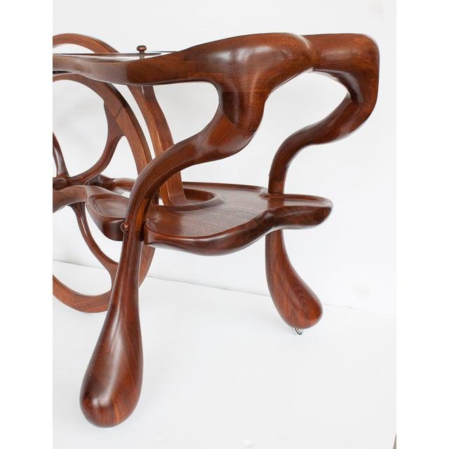 Vintage Studio Sculptural Carved Walnut Bar Cart - Image 7 of 10