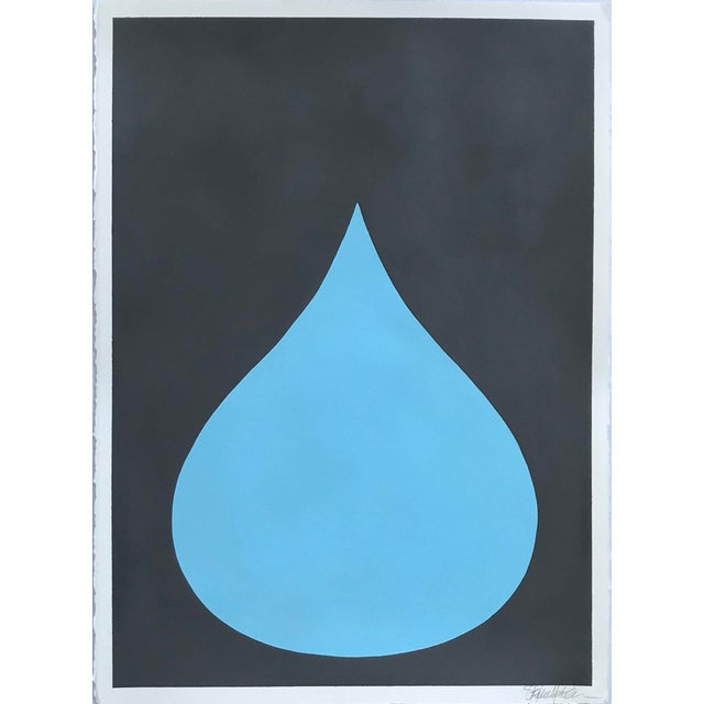 2010s Fat Drop of Cool Blue on Graphite Acrylic Painting by Stephanie Henderson For Sale - Image 5 of 5