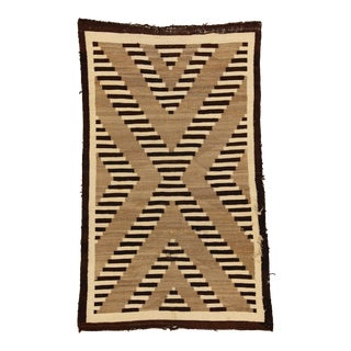 "1920's Old Navajo Rug - 4'1"" X 6'5"" For Sale"