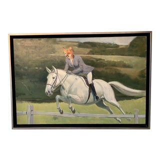 Equestrian Fox Hunt Framed Painting For Sale