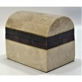 Small Maitland-Smith Vintage Travertine Marble Horn and Brass Jewelry Box Preview