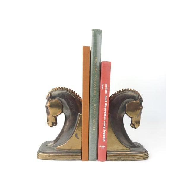 Art Deco 1930s Vintage Art Deco Dodge Bronze Trojan Horse Bookends - a Pair For Sale - Image 3 of 10