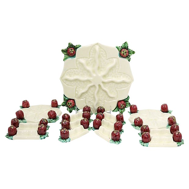 Vintage French Majolica Table Adornments, 13 Pc For Sale