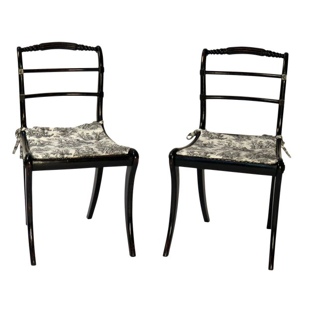 19th Century Ebonized Regency Side Chairs - a Pair For Sale