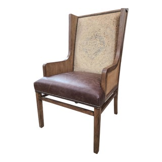 Drexel Distressed Brown Leather, Fabric, Oak & Rattan Wingback Chair For Sale