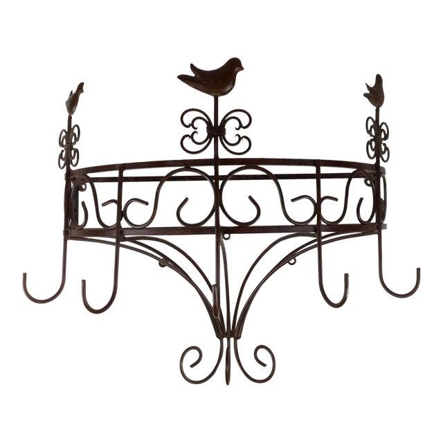 Vintage Steel Wall Pan Holder Shelf For Sale
