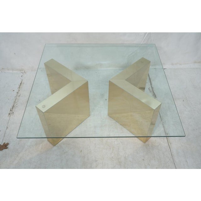 Square Gold V Base Cocktail or Coffee Table, Circa 1970 - Image 2 of 7
