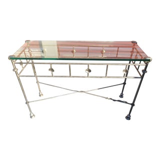 Vintage Designer Custom Artist Made Iron & Glass Console / Foyer Table For Sale