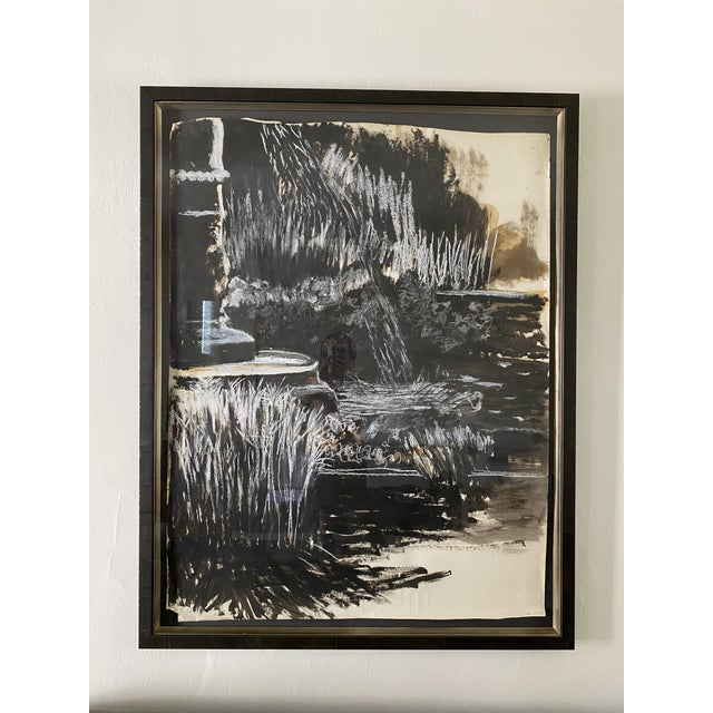 Wood Oversize Black & White Abstract Landscape Painting, Signed & Framed For Sale - Image 7 of 8