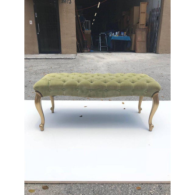 French 19th Century Louis XV Benches With Green Velvet. For Sale - Image 13 of 13