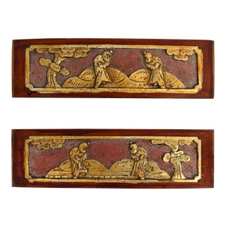 Antique Chinese Wood Carving, Brothers Martial Art - A Pair For Sale