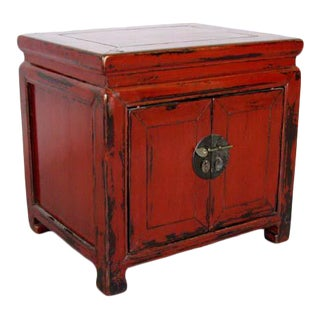 1860s Elm Red Lacquered Nightstand For Sale