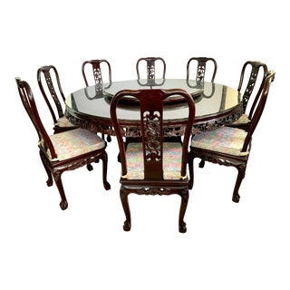 Chinese Carved Rosewood 9 Pc Dining Set, Round Table, Eight Chairs For Sale