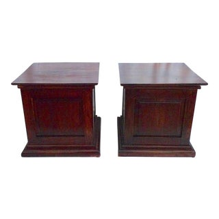 Late 20th Century Rustic Mahogany Storage Chests - a Pair For Sale