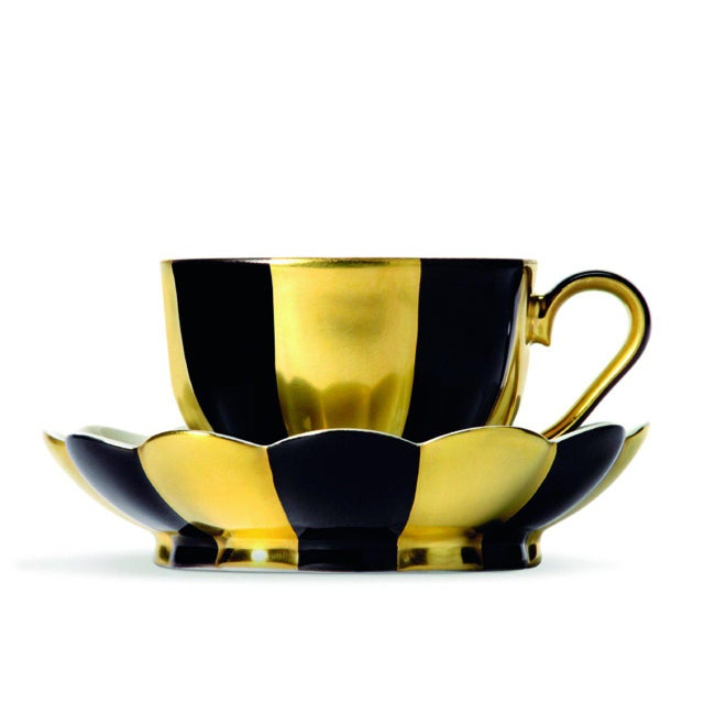 "Ceramic ""Melon"" Mocha Cup with Saucer by Josef Hoffmann Blue For Sale - Image 7 of 10"