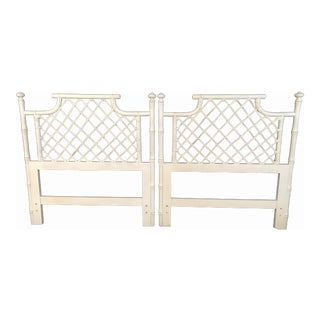 1970s Ficks Reed Twin or King Faux Bamboo Hollywood Regency Pagoda Headboards - a Pair For Sale