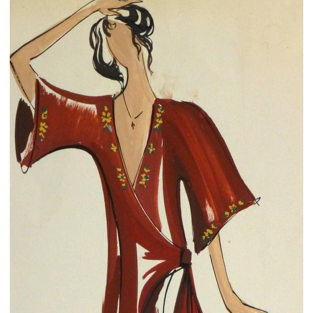 Bold French gouache fashion sketch of a flowing wrap dress in deep red with floral detailing. Signed lower right. Original...