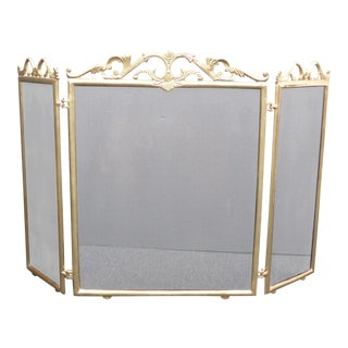 Vintage French Provincial Brass Floral Fireplace Screen