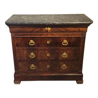 Louis Philippe Four Drawer Chest with Flame Mahogany For Sale