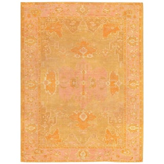 Antique Turkish Oushak Orange and Green Rug - 9′4″ × 12′ For Sale