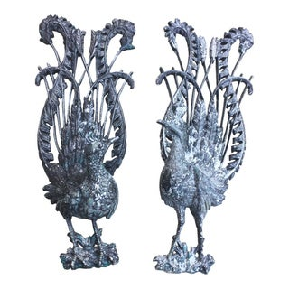 Antique Iron Birds Sculptural Wall Hangings - a Pair For Sale