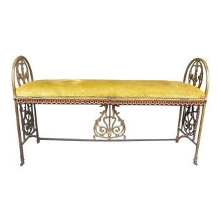 1900s Mid-Century Modern Oscar Bach Bronze and Iron Bench With Dolphins For Sale