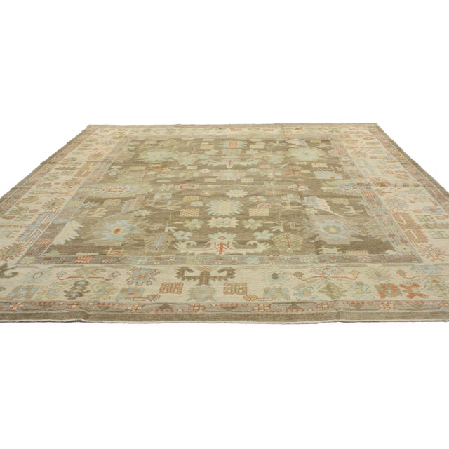 "Boho Chic Turkish Oushak Warm Colors and Pastel Hues Area Rug - 10' X 13'1"" For Sale - Image 3 of 4"
