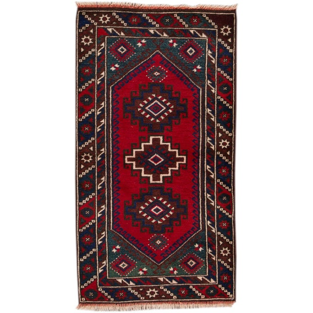 """Vintage Hand-Knotted Pakistani Balouch Rug, 2'4"""" X 4'3"""" For Sale - Image 4 of 4"""