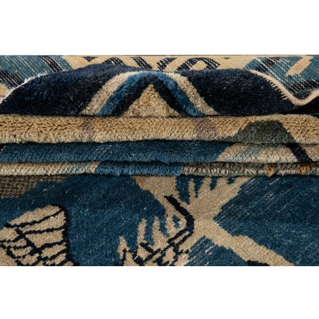 Early 20th Century Early 20th Century Antique Art Deco Chinese Peking Wool Rug For Sale - Image 5 of 13