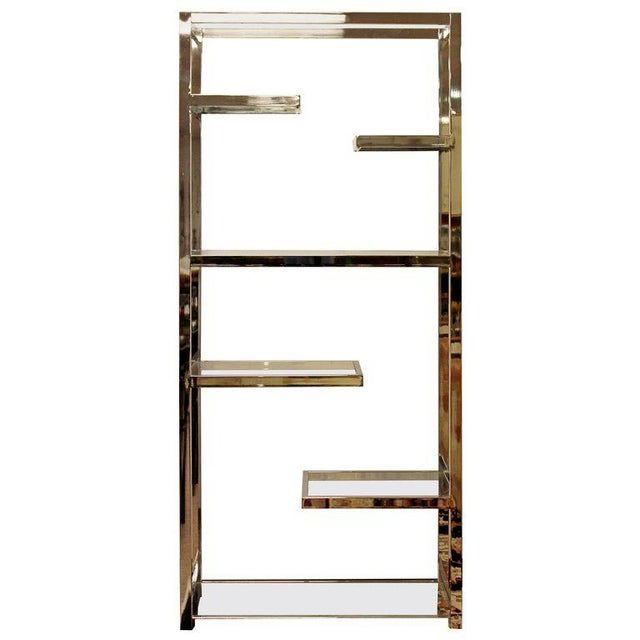 Silver Mid-Century Modern Milo Baughman Chrome & Glass Shelves Etagere 1970s For Sale - Image 8 of 8