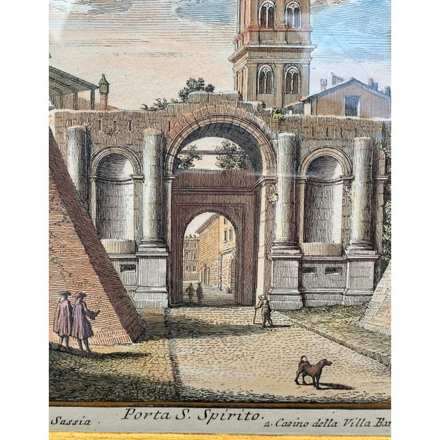 Early 20th Century Antique Porta S. Spirito Framed Hand-Colored Engraving For Sale - Image 4 of 10