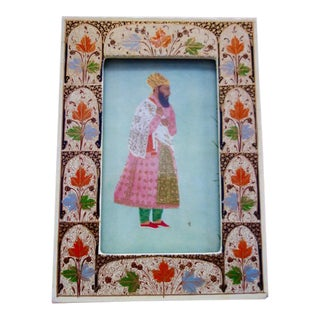 1930s Persian Print in Old Hand-painted Persian Frame For Sale