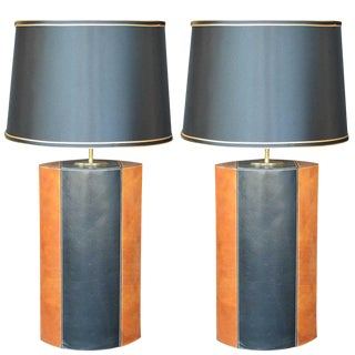 Pair of Brown and Black Leather Lamps For Sale