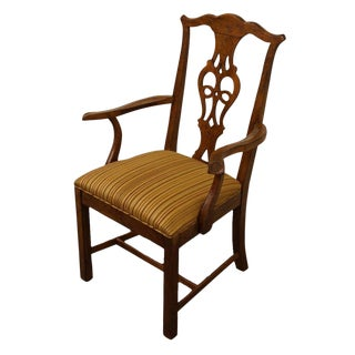 Solid Cherry Chippendale Style Dining Arm Chair For Sale