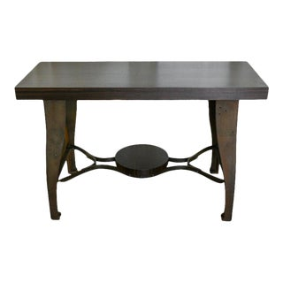 Late 20th Century Industrial Metal and Ebony Macassar Wood Console For Sale