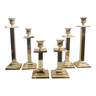 Vintage Brass Square Pagoda Taper Candle Holders -Set of 6 For Sale