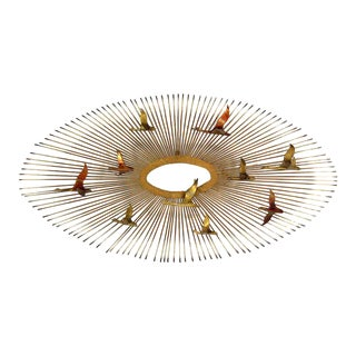 Curtis Jere Wall Hanging Sunburst Sculpture of Birds For Sale