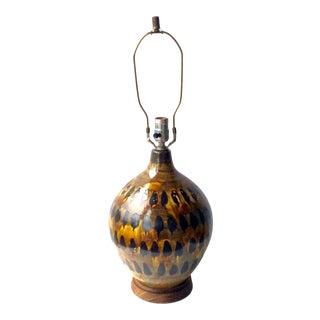 1960s Mid Century Modern Studio Pottery Bulbous Drip Glaze Lamp For Sale